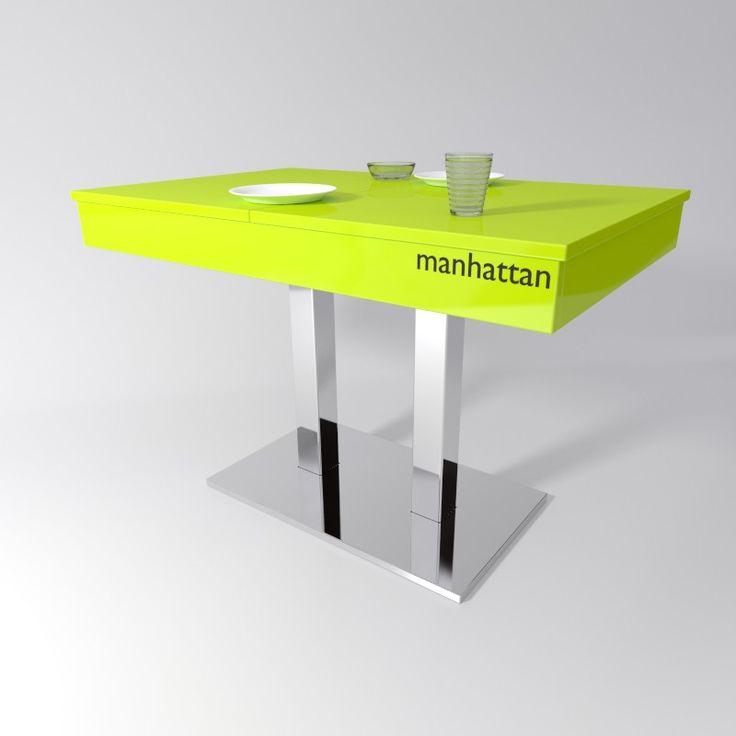 Mesa para cocina Manhattan con estructura cromado brillo y superficie en color verde brillante.