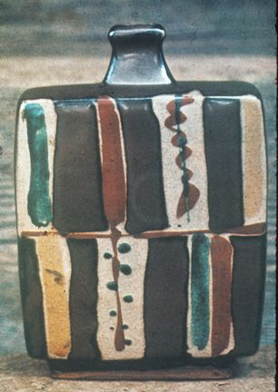 Stoneware Bottle with wax resist and overglaze decoration  by Shoji Hamada, 1970, Mashiko, Japan