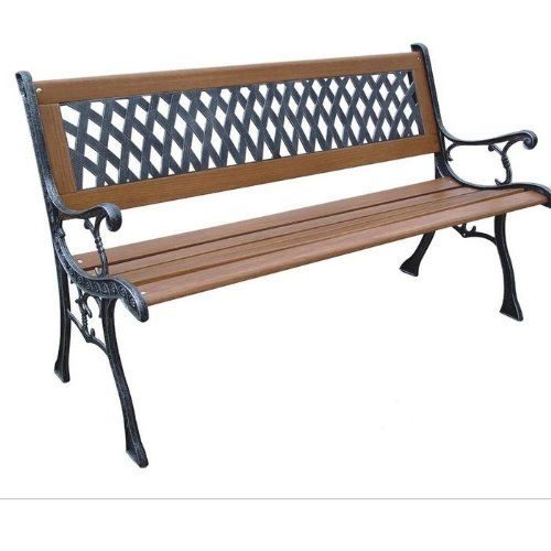 DC America Mesh Resin Park Bench, Cast Iron Legs, Rust Free Resin Back, And  Hardwood Slats, Rust Resistant Bronze Finish