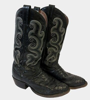 Mens Tony Lama Black Leather Full Quill Cowboy Boots 7.5 EE Wide White Stitch