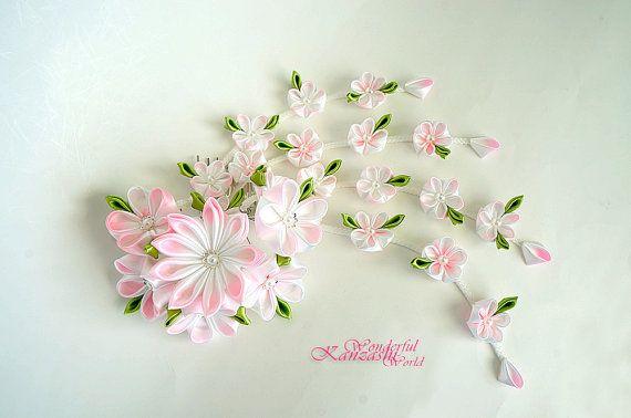 Hand Dyed Tsumami Kanzashi Cherry Blossom Pink Wedding Bridal Fabric Flower Hair Comb