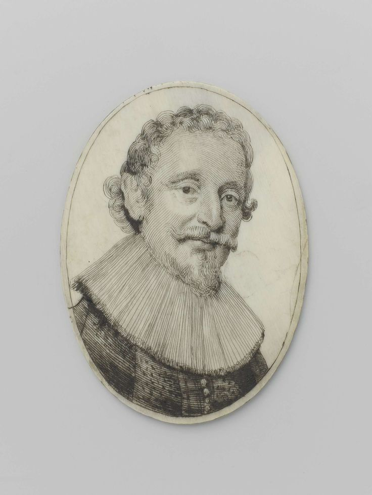 Clemens Arnold Nachtegaal | Miniatuurportret van Hugo de Groot, Clemens Arnold Nachtegaal, Michiel Jansz van Mierevelt, 1600 - 1650 | Portret (schouderstuk) van een man, driekwart frontaal naar rechts, met krullend haar, snor, sik en grote geplooide kraag. Opschrift. Keerzijde: Portrait of Hugo / GROTIUS. / 1585 - 1645. / The greatest of / Jurisconsultrs. 294. Niet gesigneerd (signatuur op tegenhanger).