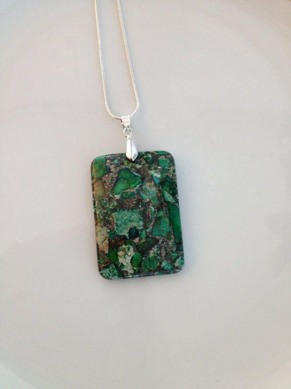 Large Green Pendant Focal Pendant Gemstone by AwfyBrawJewellery