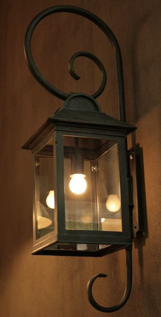 Our Monte lantern with French curl detail. The Monte is a large and bold design, perfectly suited for homes with straight lines and high walls.