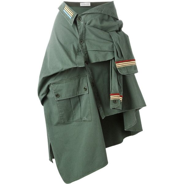 Faith Connexion Military Shirt Skirt ($495) ❤ liked on Polyvore featuring skirts, green, green asymmetrical skirt, cotton skirts, military skirt, tie-dye skirt and asymmetrical skirt