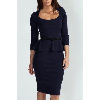 Peplum šaty Elegant - tmavomodré