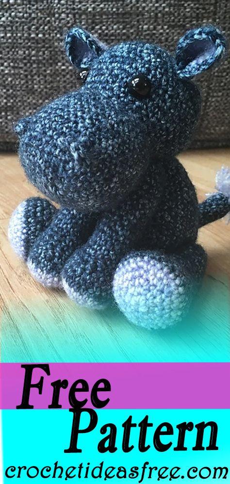 Patrón de ganchillo libre de hipopótamo - CrochetIdeasFree Patrón de ganchillo gratis crochetidea ...