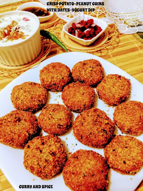 CURRY AND SPICE: CRISP POTATO-PEANUT COINS WITH DATES-YOGURT DIP