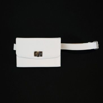 [Mini Square Bag: White] A mini size faux leather bag featuring a chain-link strap and a belt strap. Foldover top with twist-lock closure. Can be worn as different styles: crossbody, shoulder bag, belted bag, or clutch. Simple and Casual style leather bags.