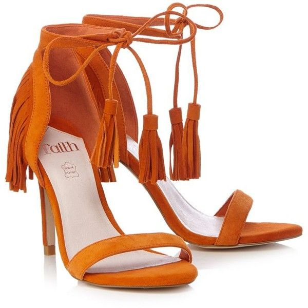 Faith Orange high sandals (65 BRL) ❤ liked on Polyvore featuring shoes, sandals, bohemian shoes, evening wear shoes, bohemian sandals, suede leather shoes and suede fringe sandals