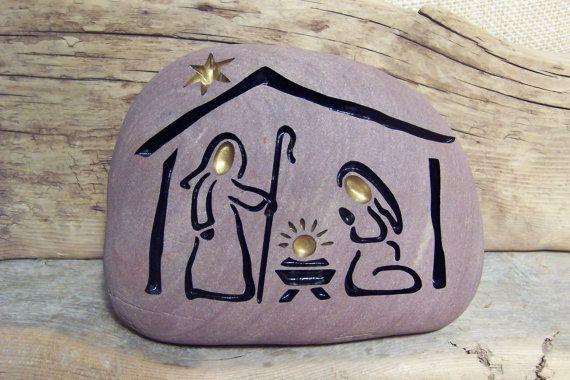 NATIVITY Engraved Natural Stone Enchanting and by SandStudios, $35.00
