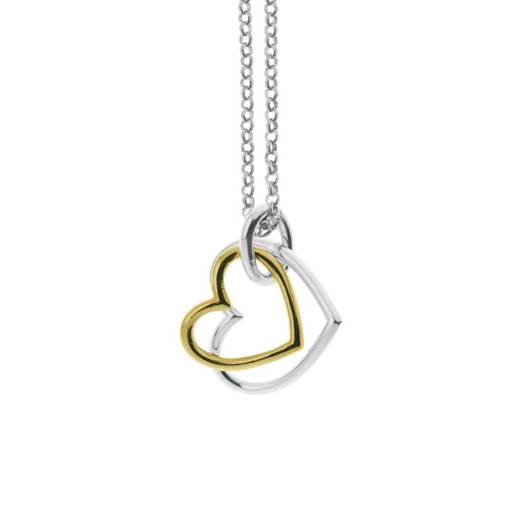 Gold plated sterling silver double heart pendant for necklace from By Malene Meden at Svane & Lührs - here with sterling silver necklace. We tailor-make your length. Worldwide shipping € 5: www.svane-luhrs.com.