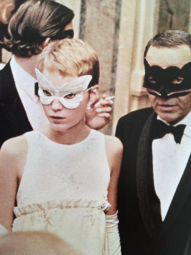 28 Nov 1966, Manhattan, New York — Frank Sinatra and his wife, actress Mia Farrow, as they arrive at Truman Capote's Black and White Ball