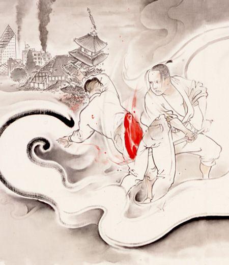 『無残ノ介(部分)』2004 カンヴァスに油彩、水彩 65×320cm 個人蔵 撮影:宮島径 ©YAMAGUCHI Akira, Courtesy Mizuma Art Gallery| HAPPY PLUS ART(ハピプラアート)