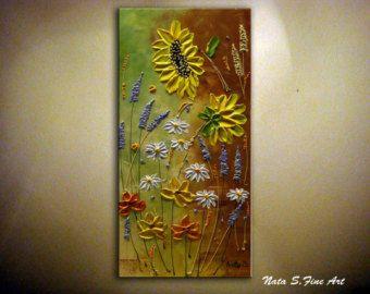 Large Artwork 24x48Original Wildflower by NataSgallery on Etsy