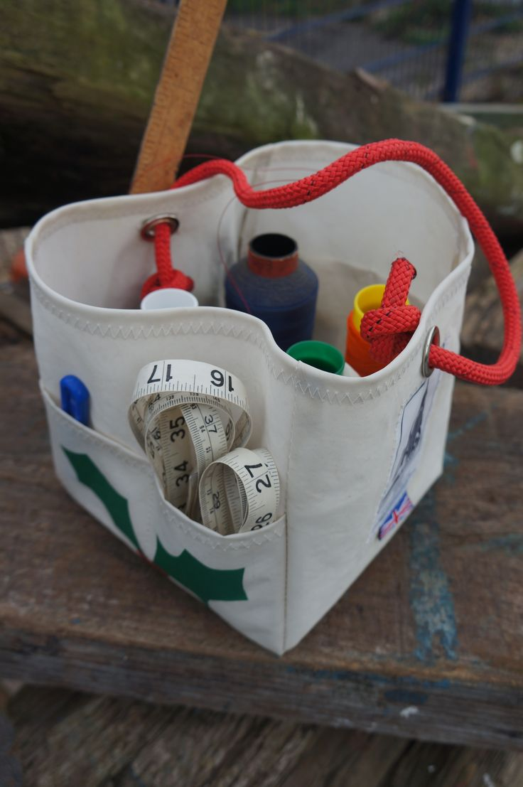 Upcycled handmade Sailcloth hamper organiser bag perfect gift for him or her. Great to store everything and anything, gardening tools, desk tidy, knitting bag, sewing kit - Sails & Canvas, Topsham Devon www.sailsancanvas.co.uk