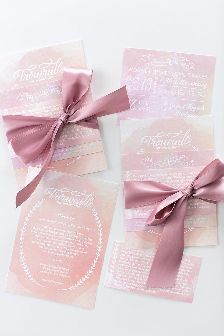 Watercolor invites with a pink bow by Lemon & Lavender - lemonandlavender.com | Workshop Hosting, Styling, Design + Florals: Hey Gorgeous Events - heygorgeousevents.com | Photography: Bradley James Photography - bradleyjamesphotography.com Read More: http://www.stylemepretty.com/little-black-book-blog/2014/06/03/trouvaille-workshop-wedding-inspiration/