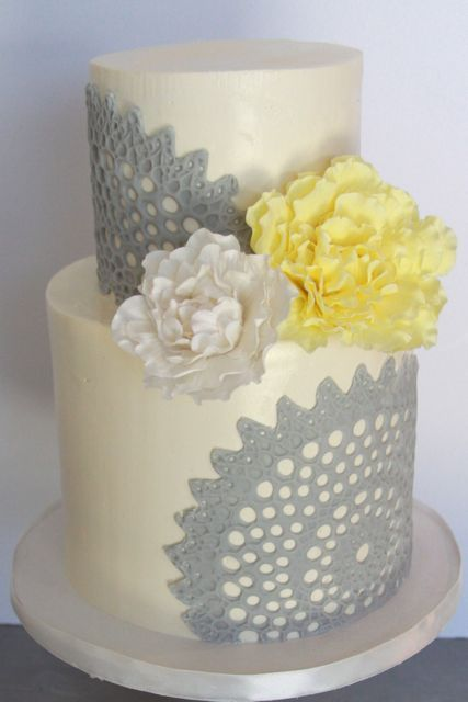 Vintage lace cake with sugar peonies | Sweet and Saucy Shop