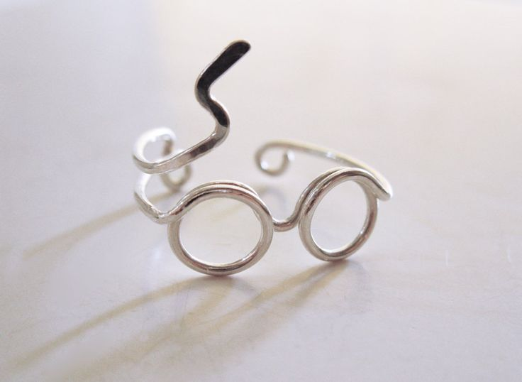 Harry Potter Ring - Glasses Ring with Lighting Scar - Sterling Silver Wire Wrap