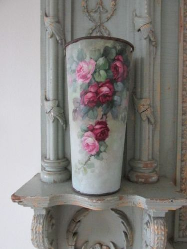 OMG ORIGINAL CHRISTIE REPASY PAINTING Pink  Cranberry Roses on FRENCH FLOWER CAN in Art, Art from Dealers & Resellers, Paintings | eBay