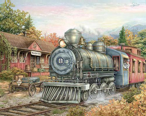 Carolina Morning Train by Beverly Levi-Parker ~ landscape mixed media watercolor