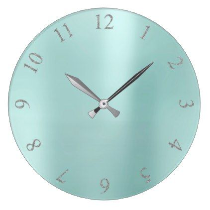 Tiffany Aqua BlueGlitter Gray Silver US UK Numbers Large Clock - diy cyo customize create your own #personalize