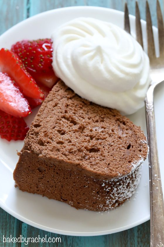 Light and airy chocolate angel food cake recipe from @bakedbyrachel