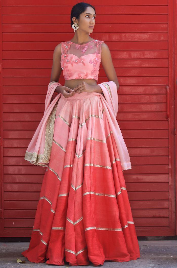 Pink Silk Embroidered Lehenga Neha Kukreja