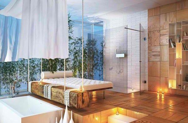 ground level shower massage bed wood tiles bathroom. Black Bedroom Furniture Sets. Home Design Ideas