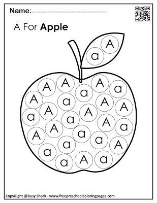 """Set of Letter A """"10 free Dot Markers coloring pages""""   Dot ..."""