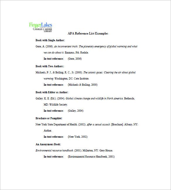 professional reference list example