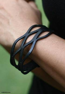 MEN'S Leather Wristband BRACELET Bali NEW