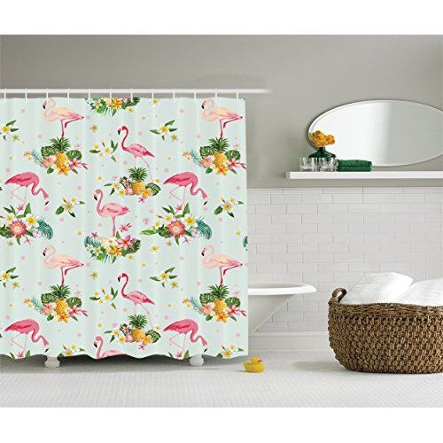 ... And Tropical Flowers Fruits Pineapples Plumeria Vintage Style Art,  Polyester Fabric Bathroom Shower Curtain, 75 Inches Long, Pink Salmon Coral  Green