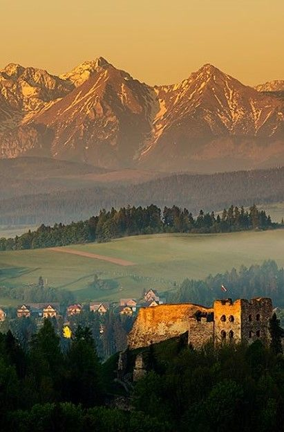 Czorstyn Castle at sunrise overlooking the Tatras, Poland