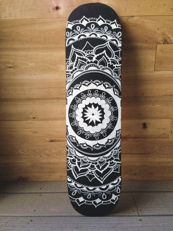Black And White Mandala Skateboard By Lavaboards On Etsy Skateboard Skateboard Deck Art Skateboard Design