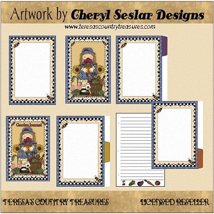 Garden Journal Book Printable from Cheryl Seslar Designs includes country primitive journal book with girl and flowers and includes front and back cover recipe card and three dividers  Click profile link to
