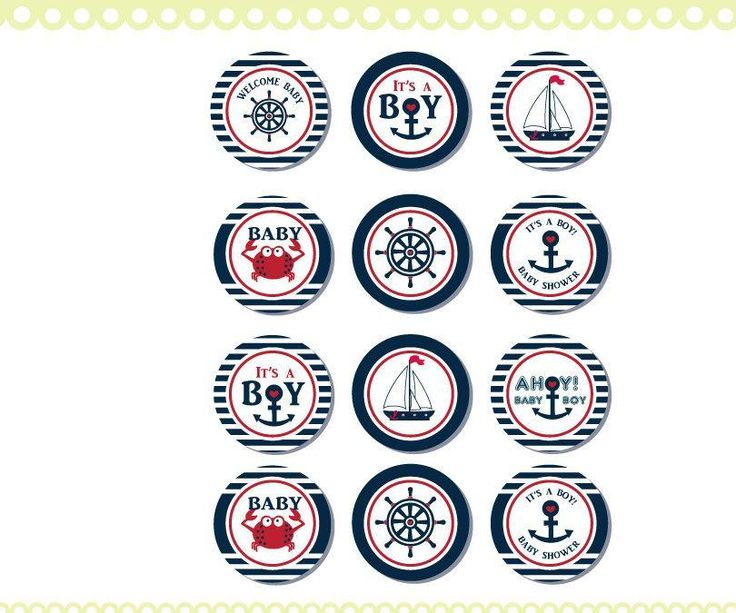 Nautical Baby Shower Cupcake Toppers,Favor Tags, Ahoy - Anchor - It's a Boy Printable DIY Red Navy, crab, ship wheel, you print ao41bs0a - http://babyshowercupcake-toppers.com/nautical-baby-shower-cupcake-toppersfavor-tags-ahoy-anchor-its-a-boy-printable-diy-red-navy-crab-ship-wheel-you-print-ao41bs0a/