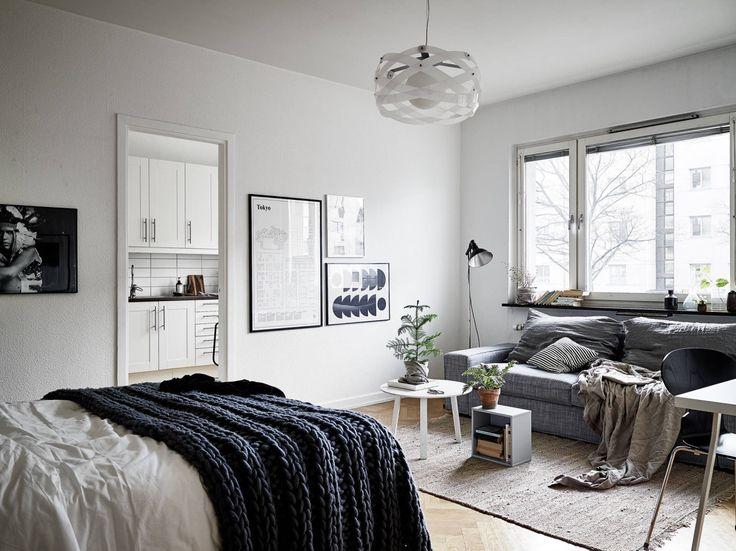 die besten 25 einzimmerwohnung ideen auf pinterest. Black Bedroom Furniture Sets. Home Design Ideas