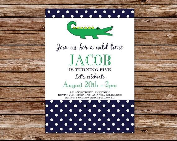Custom Printable Preppy Alligator Birthday Party Invitation