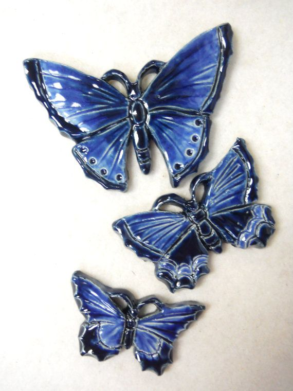 Handmade Ceramic Tiles BUTTERFLY Navy Blue by HouseofWhisperingFir, $14.50