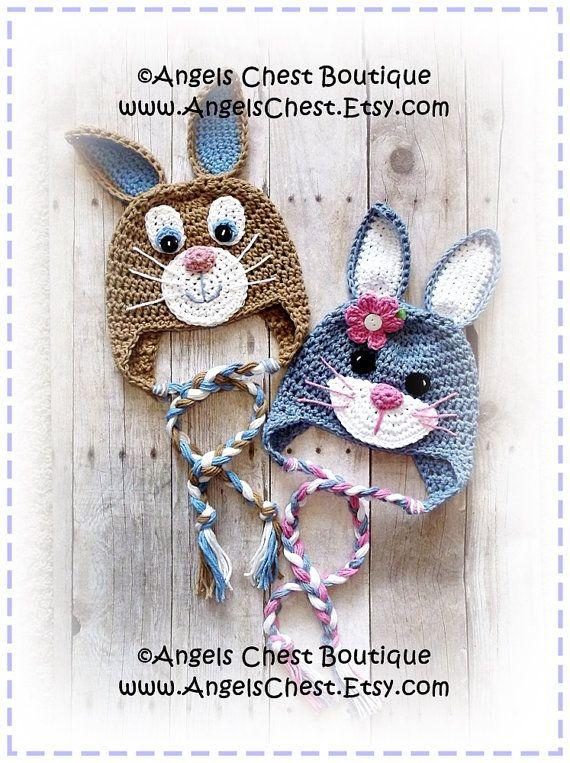 Cute Crochet Rabbit Bunny Beanie Earflap Hat PDF Pattern Sizes Newborn to Adult Boutique Design - No. 59 by AngelsChest