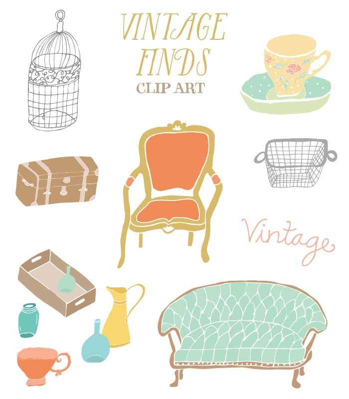 At $6, This Vintage Furniture Clip Art Could Be JUST The Thing To Liven Up