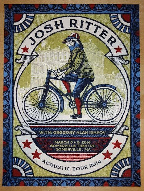 "Josh Ritter - silkscreen concert poster (click image for more detail) Artist: Nate Duval Venue: Somerville Theatre Location: Somerville, MA Concert Date: 3/5-6/14 Size: 18"" x 24"" Edition: Artist Proof"