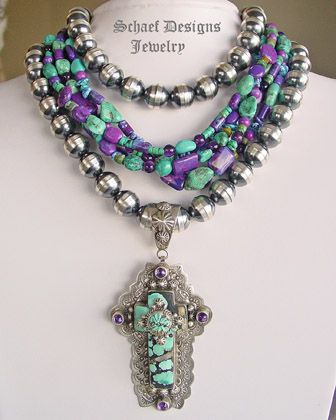 Schaef Designs Capistrano Cross pendant | blue turquoise with amethysts | Upscale online Southwestern, Equine, & Native American Jewelry Gallery Boutique | Schaef Designs artisan handcrafted Jewelry | New Mexico