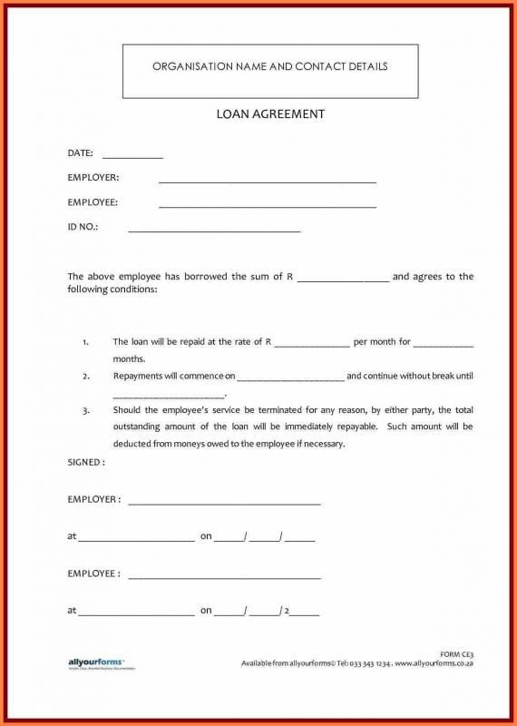 Employees Loan Agreement Contract Template Personal Loans Loan