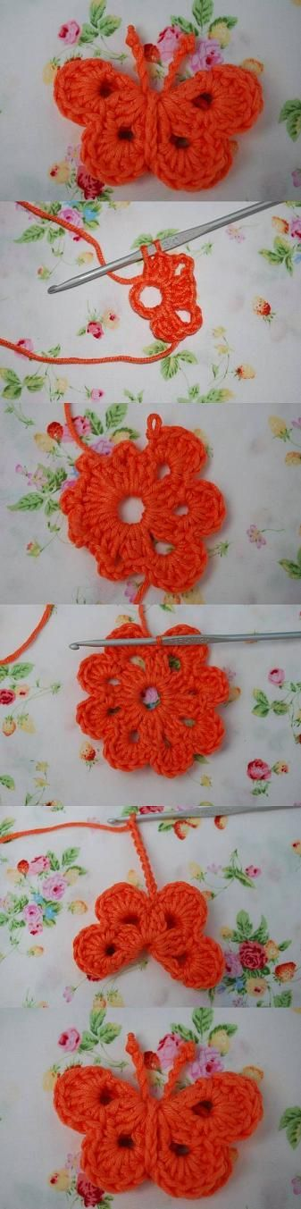 Buy Yarn To DIY http://www.aliexpress.com/store/1687168  Butterfly - Free Crochet Pattern (ch 5 sl st instead of magic ring)