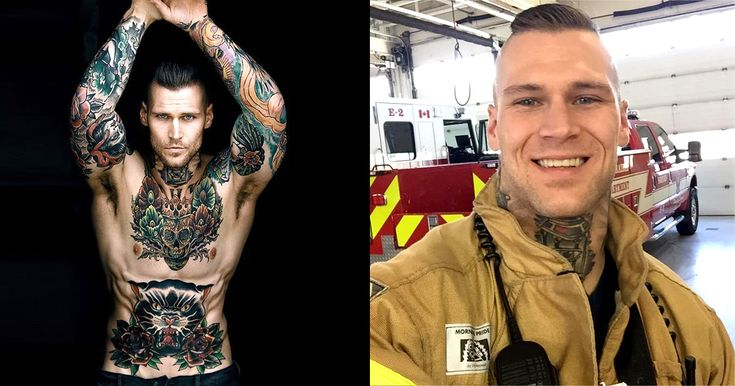 Marshall Perrin is a tattooed model and social media star but he also puts out fires in his day job as a firefighter.