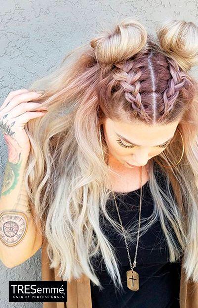 Dutch braids + doublé buns Glam long hair TRESemm…
