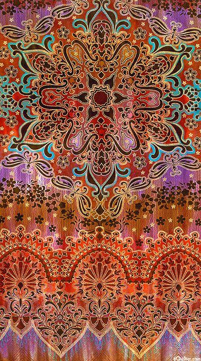 Jewels of India Printed Hand Dye - Sunburst - Cinnabar /Gold