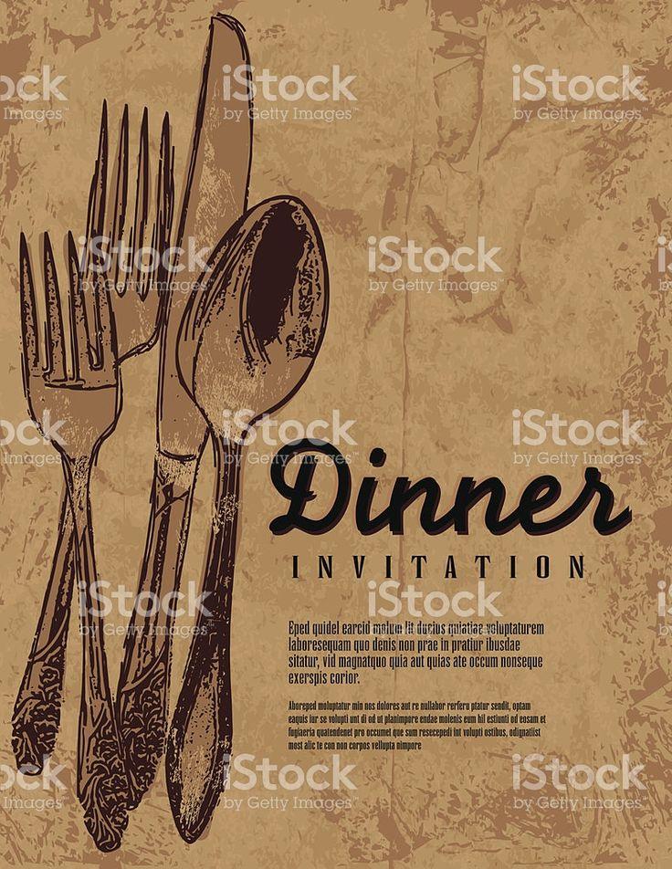 素朴さとカントリーディナー招待状の背景にアンティーク食器 ロイヤリティフリーのイラスト素材
